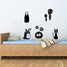 Amazon Com Pmxkbzzr 8 Studio Ghibli Wall Decals Perfect For Anime Lovers Peel And Stick Wall Art Decals Jiji Totoro Soot Sprite No Face Kodama Birthday Gift Kitchen Dining