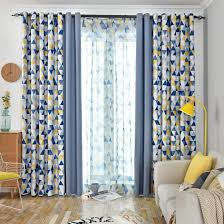 Amazon Com Jarl Home Patio Blackout Curtains For Kids Bedroom Yellow Triangle And Solid Blue Color Sitiching Window Black Out Draperies 2 Panels Grommet Mix And Match Curtain For Living Room Kitchen