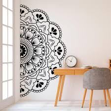 Wall Decal Mandala In Half Vinyl Wall Sticker Headboard Decoration Decals Flower Pattern Home Decor Art Mural Living Room Bedroom Stickers Bedroom Stickers For Walls From Joystickers 10 76 Dhgate Com