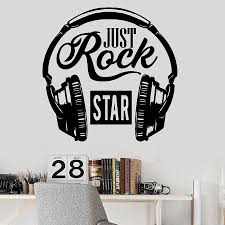Rock Music Wall Decal Words Musical Lover Headphones Vinyl Window Stickers Cool Bedroom Song Studio Interior Decor Art M098 Wall Stickers Aliexpress