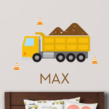 Dump Truck Wall Decal Personalized Yellow Maxwill Studio