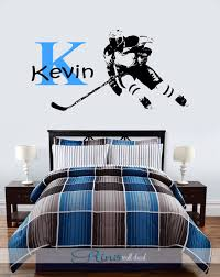 Hockey Wall Decal Custom Large Ice Hockey Player Personalized Choose Name 2 Colors Vinyl Wall Decal Sticker Deco Hockey Bedroom Wall Decals Sports Wall Decor