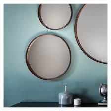 round bronze wall mirror 41cm