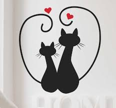 Cat Silhouettes And Heart Wall Sticker Tenstickers