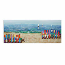 Hand Painted Modern Oil Painting Canvas Wall Art Home Decor Framed Seaside Fence Ebay