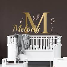 Name Wall Decals Music Notes Wall Decal Nursery Wall Mural Etsy
