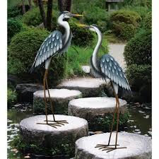 large blue heron metal garden statuary