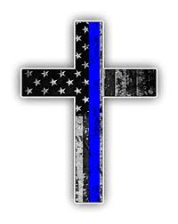Thin Blue Line Cross Usa Flag Vinyl Decal American Flag Window Sticker Blue Stripe For Cars Trucks Laptops Etc For Honor And Support Of Our Officers Wantitall