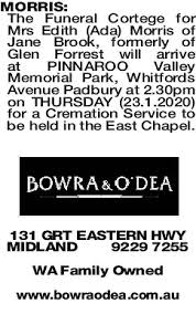 MORRIS Ada   Funeral Notices   The West Announcements