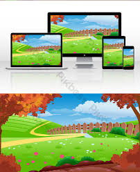 Cartoon Grass Fence Landscape Illustration Illustration Psd Free Download Pikbest