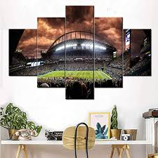 Amazon Com 5 Piece Canvas Wall Art The Seattle Seahawks Pictures American Football Paintings 5 Panel Canvas Artwork Home Decor For Living Room Giclee Wooden Framed Ready To Hang Posters And Prints 60 Wx40 H Posters
