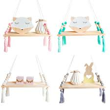 Wooden Nordic Hanging Tassel Bead Storage Wall Shelf Nursery Kids Bedroom For Sale Online Ebay