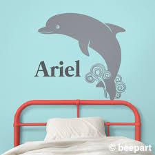 Dolphin Wall Decal Custom Name Decal Cute Animal Art Nursery Decor Kids Room Undersea Animals