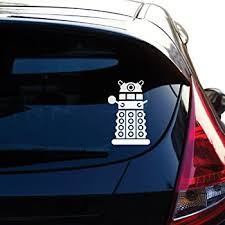 Amazon Com Yoonek Graphics Dalek Decal Sticker Inspired By The Show Doctor Who For Car Window Laptop Motorcycle Walls Mirror And More 461 4 X 2 6 White Automotive