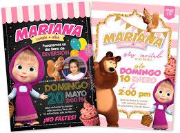 Invitacion Masha Y El Oso Para Fiesta 3 Modelos 59 00 En