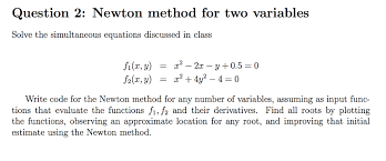 newton method for two variables solve