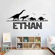 Personalized Name Custom Wall Decal Jurassic Park Dinosaur Vinyl Stickers For Boys Bedroom Decoration Art Fashion Poster Cl01 Wall Stickers Aliexpress