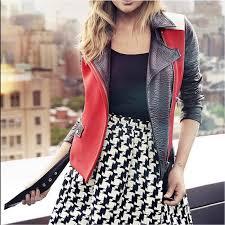 white black red moto leather jacket