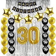Sunarrive Deco Anniversaire 30 Ans Noir Et Or Decoration Ballons 30 Ans Pour Homme Femme Amazon Fr Jeux Et Jouets