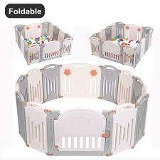 Baby Playpen 6 Panel Foldable Wooden Frame Kids Safety Play Fence In Outdoor For Sale Online Ebay
