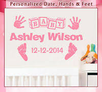 Personalized Baby Feet With Name Weight And Date Of Birth Wall Decal 11 5 X 5 Home Garden Decor Decals Stickers Vinyl Art