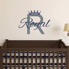 Amazon Com Custom Name Prince Nursery Wall Decal Boys Personalized Name Crown Wall Sticker Custom Name Sign Custom Name Stencil Monogram Baby Boy Nursery Room Wall Decor Handmade