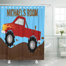 Cynlon Racing Red Monster Truck Mud Children Kid Room Boy Bathroom Decor Bath Shower Curtain 66x72 Inch Walmart Com Walmart Com