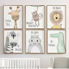 Scandinavian Fashion Nordic Kids Room Cartoon Safari Animals Canvas Poster Abstract Frameless Wall Art Canvas Painting Cuadros Home Decoration Posters And Prints Canvas Pictures For Livingroom Not Include Wish