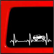 Amazon Com Sticker Connection Heart Beat Ekg For Jeep Wrangler Bumper Sticker Decal For Car Truck Window Laptop 2 5 X8 White Automotive