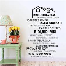 Free Shipping Italian House Rules Vinyl Wall Decals Mural Wall Sticker Home Decor Family Quote In Italian House Decoration Wall Stickers Aliexpress