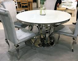 orion round white glass top and chrome