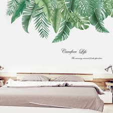Wall Stickers Wall Decal Plants Tropical Leaves Wall Stickers Large Leaves Green Living Room Corridor Wall Decoration Sticker Wall Stickers Aliexpress