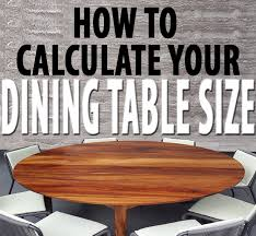 dining table size for your room