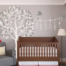 Nursery Tree Name Wall Decals With Birds Wall Decal Kids Wall Etsy