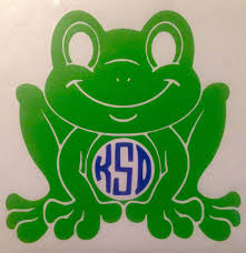 Vinyl Frog Circle Monogramed Car Decal Frog Car Decals Personalized Frog Stickers Laptop Decals Car Monogram Decal Custom Vinyl Decal Circle Monogram
