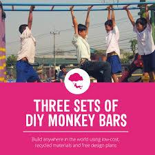 three sets of diy monkey bars