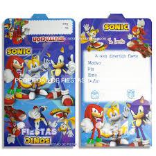 Tarjetas De Invitacion Sonic Paquete X 12 Fiestas Y Sorpresas