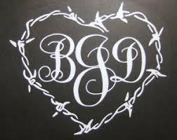 Monogram Barb Wire Heart Die Cut Vinyl Decal Car Truck Window Mirror Sticker Ebay