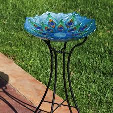 glass peacock bird bath large