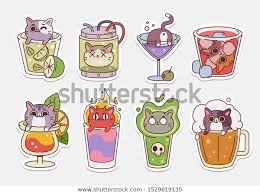 Vector Cat Stickers Illustrations Drinks Cute Stock Vector Royalty Free 1529819135