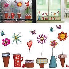 Garden Flower Pot Plant Culture Decal Wall Stickers Pvc Diy Art Wallpaper Room House Sticker Wall Poster Wish
