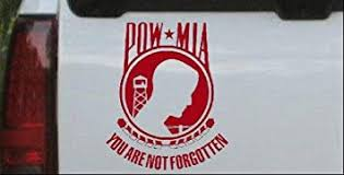 Amazon Com Pow Mia Not Forgotten Open Military Car Window Wall Laptop Decal Sticker Red 6in X 7 2in Kitchen Dining