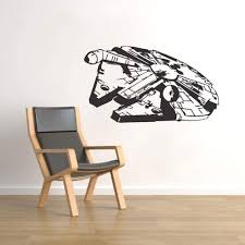 Modeganqingg Planet War Room Decoration Millennium Falcon Vinyl Wall Sticker Kids Bedroom Gift Artist House Decoration Removable Decal Wall Painting Black 75x42cm Amazon Co Uk Kitchen Home