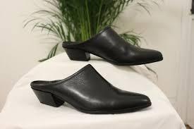 vagabond black leather mule heels