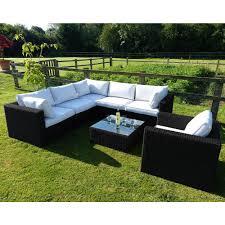 athena black rattan corner sofa set