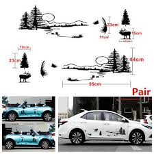 Pair Hollow Hunt Forest Reindeer Graphic Car Suv Vinyl Decal Stickers Waterproof Ebay