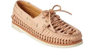 woven leather boat shoe