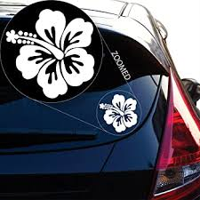 Amazon Com Iconic Hibiscus Flower Hawaiian Decal Sticker For Car Window Laptop And More 619 4 X 4 White Automotive