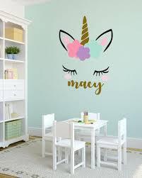 Meisjes Naam Gepersonaliseerd Unicorn Muur Sticker Onze Vinyl Muur Stickers Zijn Matte Afwerking En Kijk In 2020 Unicorn Room Decor Blue Girls Rooms Unicorn Wall Decal