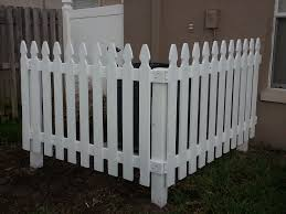 White Picket Fence To Cover Up A C Unit In Backyard Backyard Backyard Patio Backyard Garage